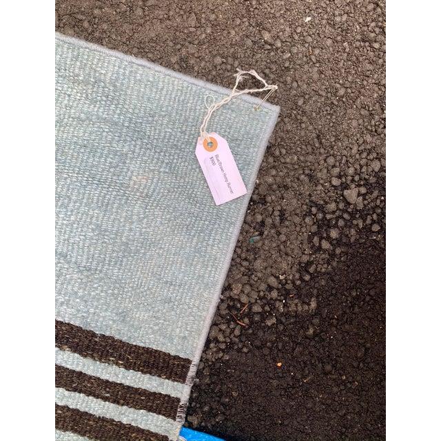 Mid 20th Century Vintage Blue & Brown Stripe Hemp Runner-3′6″ × 9′2″ For Sale In Los Angeles - Image 6 of 8