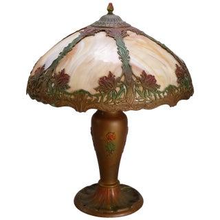 Arts & Crafts Bradley & Hubbard School Polychrome Slag Glass Lamp, Circa 1920 For Sale