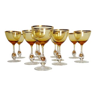 c1960s Italian Handblown Amber & Gilt Gold Crystal Aperitif Glasses - Set of 11 For Sale