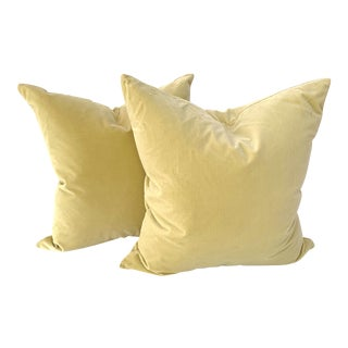 Contemporary Lush Chartreuse Custom Velvet Pillows - a Pair For Sale