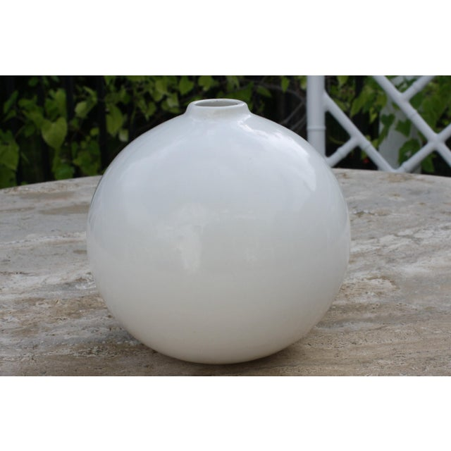 "Mid-Century Modern White Glazed Orb Vase marked on bottom ""Made in Brasil"" CONDITION: Excellent Vintage Condition. There..."