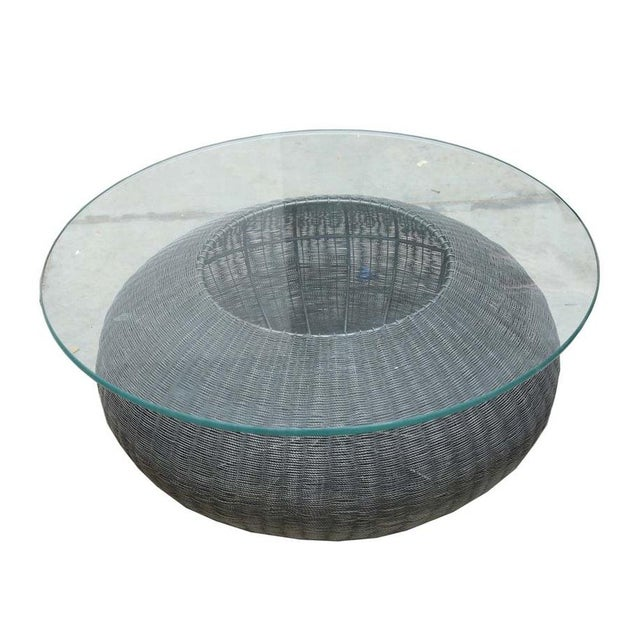 Transparent Mid-Century Modern Style Wire Weave Glass Table For Sale - Image 8 of 8