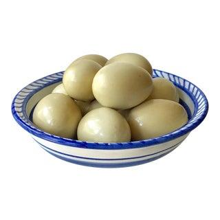 Trompe L'oeil Ceramic Eggs in Bowl Objet For Sale