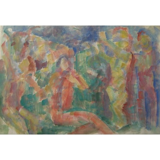 Jennings Tofel Vintage Expressionist Watercolor For Sale