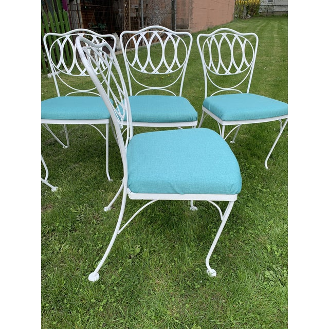 Woodard Quality Iron Patio Dining Chairs With Turquoise Upholstered Seats - Set of 6 For Sale - Image 6 of 7