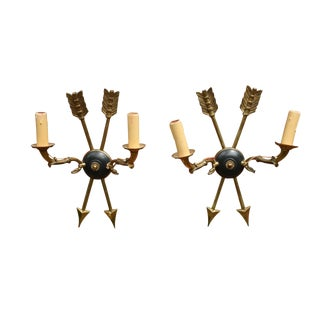 Vintage Mid Century French Black and Bronze Arrow Sconces- Pair For Sale