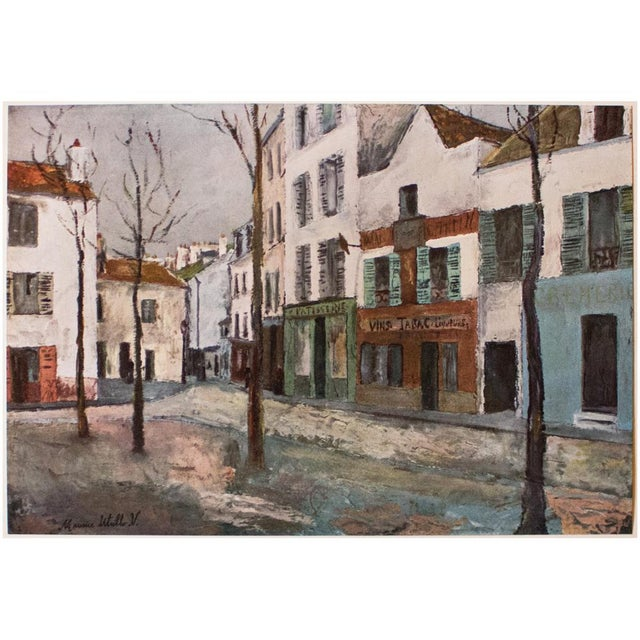"""A lovely vintage lithograph after painting """"Place Du Tertre"""" (circa 1911-1912), by French artist Maurice Utrillo..."""