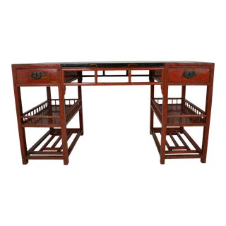 Asian Red Lacquered Writing Desk For Sale