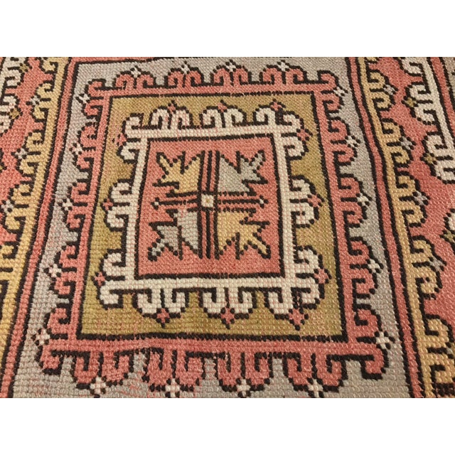 "Vintage Square Pattern Turkish Oushak Rug - 4'2"" x 6' - Image 4 of 11"