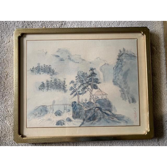 Early 20th Century Early 20th Century Antique Landscape Watercolor Paintings - Set of 4 For Sale - Image 5 of 10