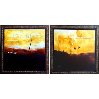 "Marica Holmes ""Counting Sheep"" Oil Paintings- Pair For Sale"