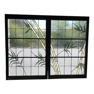 20th Century Modern Leaded Glass Wooden Framed Windows - a Pair For Sale