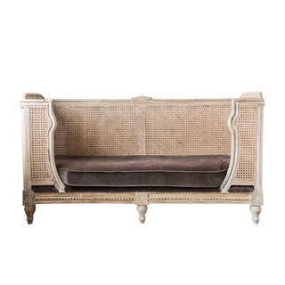 French Style Caned Day Bed With Velvet Cushion For Sale