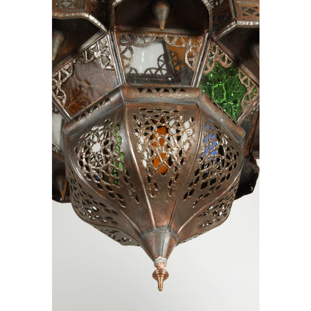 Mid 20th Century Vintage Moroccan Mamounia Glass Pendant For Sale - Image 5 of 7