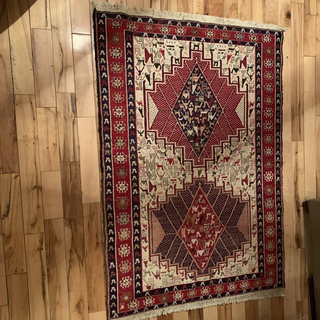 Late 19th Century Late 19th Century Antique Silk Sumac Persian Rug - 3′3″ × 4′9″ For Sale - Image 5 of 5