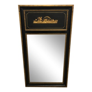 Vintage Black & Gold Classical Mirror For Sale