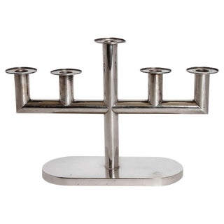 European Art Deco Silver Plate Candelabrum For Sale