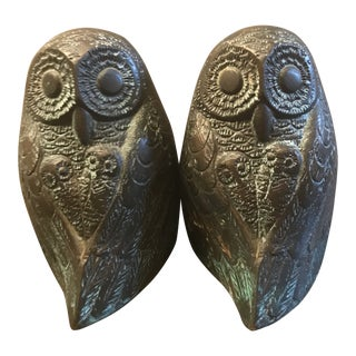 Vintage Bronze Owl Bookends - A Pair For Sale