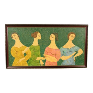 """""""Four Women"""" Oil Painting Attributed to Flavio Cabral For Sale"""