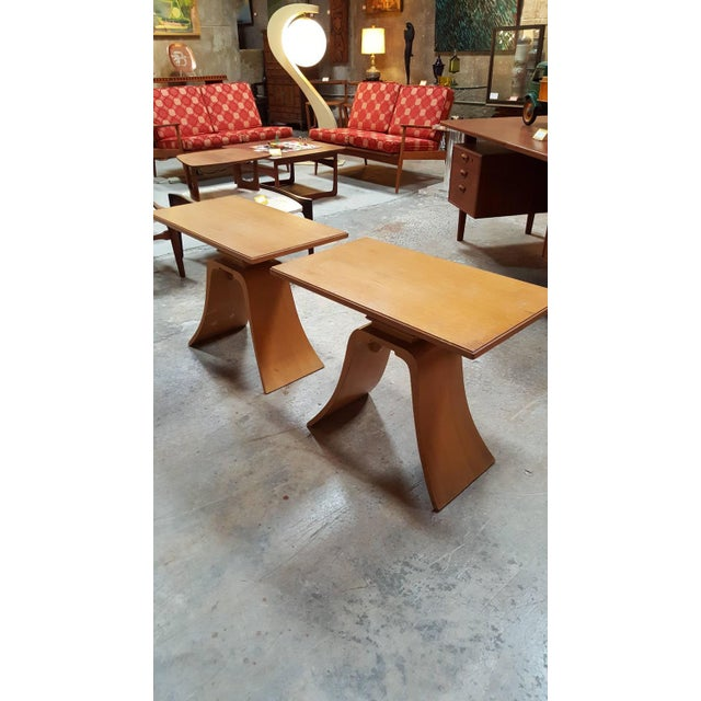 """Frankl Golden Mahogany """"Bell"""" Side Table - Pair - Image 4 of 9"""