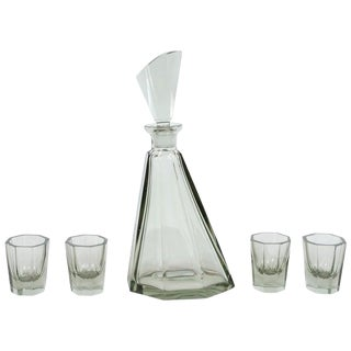 Art Deco Czechoslovakian Hand Blown Smoked Glass 5-Piece Faceted Decanter Set For Sale