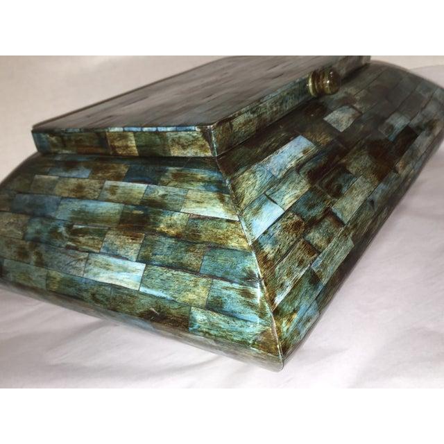Rare Mid-Century Large Aqua Blue Tessellated Wood Box - Image 7 of 9