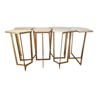 Contemporary Regina Andrew Design Gold Leaf Puzzle Table Set - 6 Pieces For Sale