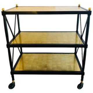 Hollywood Regency Ebony & Gilt Glass Bronze Mounted Tea, Serving Cart For Sale