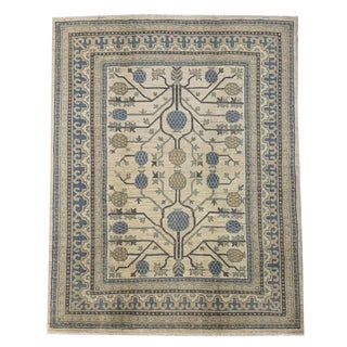 Transitional Geometric Tree of Life Pattern Hand Knotted 'Khotan' Area Rug - 4′11″ × 6′2″ For Sale