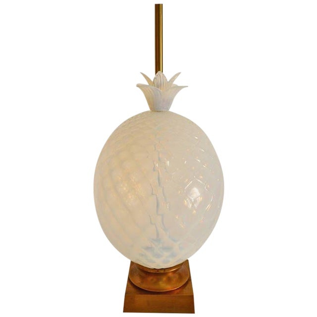 Hollywood Regency Large Seguso Murano Glass Quilted Opalescent Pineapple Lamp for Marbro For Sale - Image 3 of 4