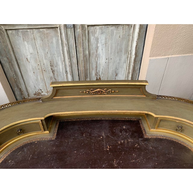Wood Antique Painted French Writing Desk With Parcel Gilt and a Leather Top For Sale - Image 7 of 11