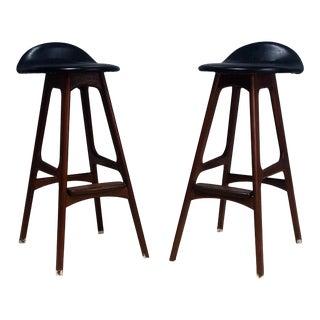 Mid-Century Danish Modern Erik Buch Buck Rosewood & Teak Bar Stools- A Pair For Sale