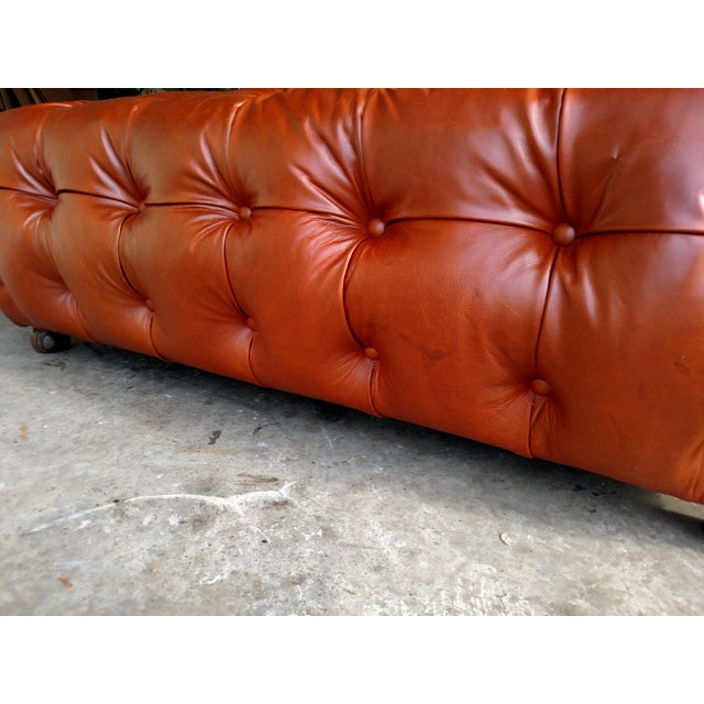 Saddle Brown Tufted Leather Ottoman - Image 3 of 6