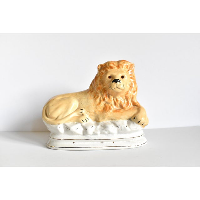 Mid 20th Century Vintage Staffordshire Style Recumbent Lions - a Pair For Sale - Image 4 of 12