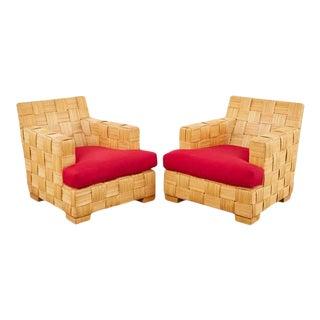 Pair of John Hutton Organic Modern Block Island Club Chairs For Sale