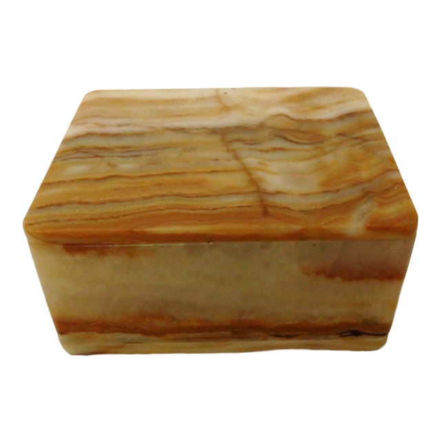 Vintage Carved Onyx Box For Sale