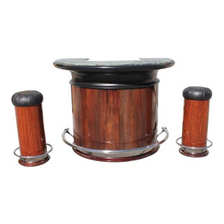 1940s Vintage French Art Deco Macassar Ebony Semicircle Dry Bar Set- 3 Pieces For Sale
