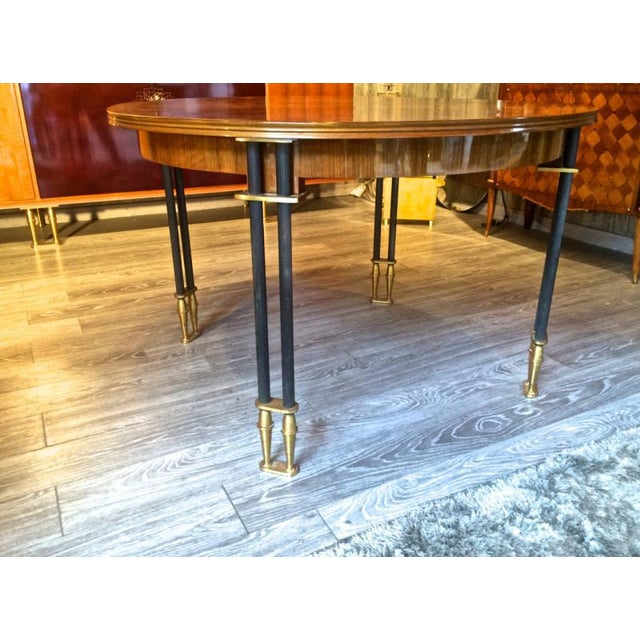 Art Deco Jules Leleu Documented, 1950s, Design Round Extendable Dining Table For Sale - Image 3 of 7