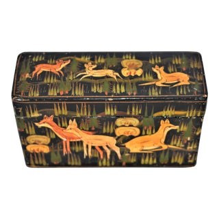 Vintage Woodland Motif Painted Box For Sale