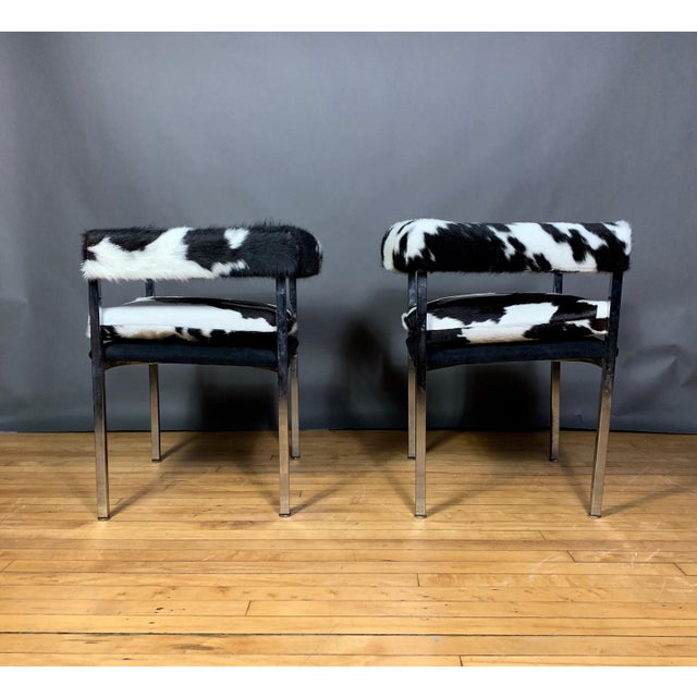 1960s American Modern 1960s Chrome & Hide Rollback Armchair For Sale - Image 5 of 11
