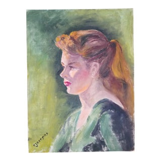 """1940s Acrylic Painting """"Portrait of a Young Lady"""" by Connie Josephs"""