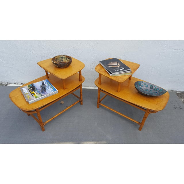 Heywood - Wakefield Mid- Century Modern two tier side tables a pair In good Vintage condition with scratches on tops ,...