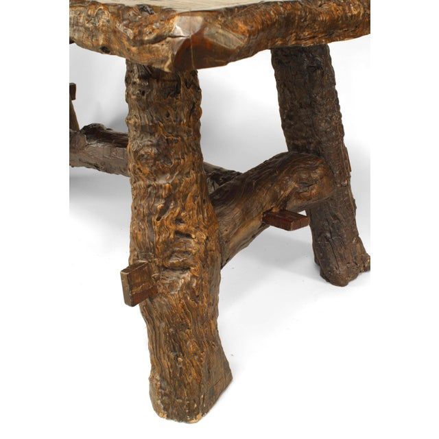 Rustic American Adirondack Style, Walnut Top Dining Table For Sale In New York - Image 6 of 7