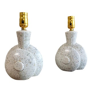 Mid-Century Modern Speckled White Lamps - Pair For Sale