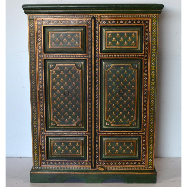 Green Vintage Indian Painted Wooden Cabinet For Sale - Image 8 of 8
