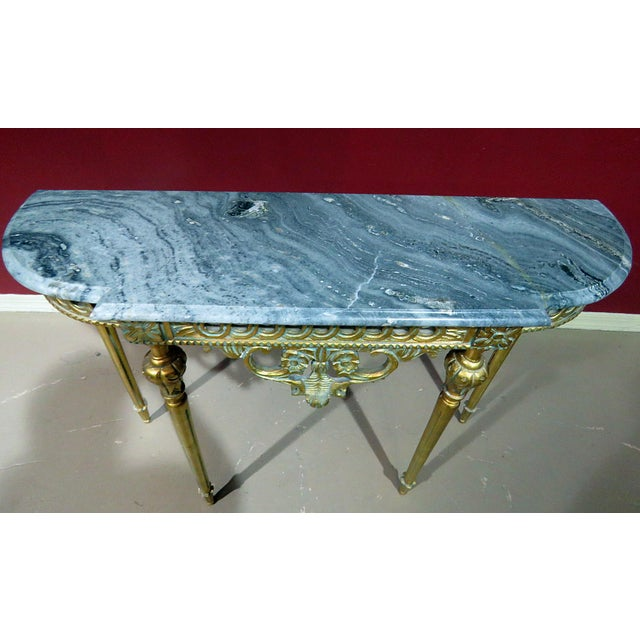 Regency Style Marble Top Demi-Lune Console Table For Sale - Image 4 of 10