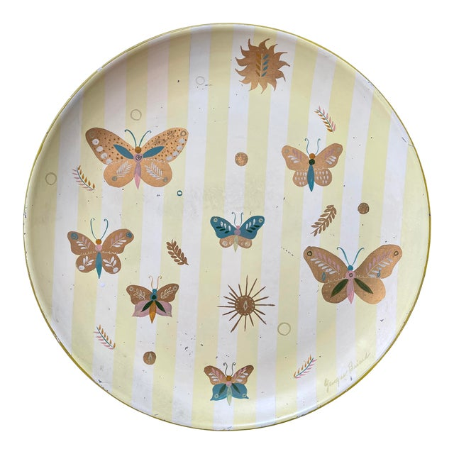 1950s Georges Briard Tole Butterflies + Flora Tray, Signed For Sale