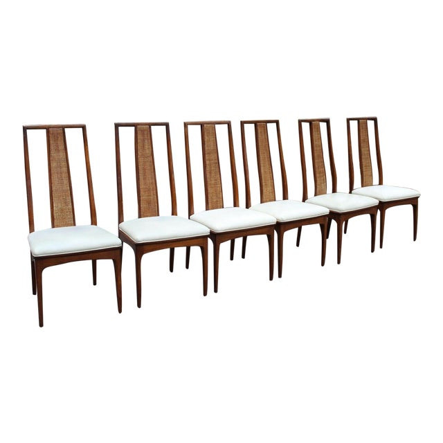 Walnut and Cane Dining Chairs by John Stuart- Set of 6 For Sale