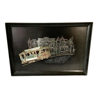 Vintage Black Couroc Serving Tray Washington and Jackson Street San Francisco Rail Cars from Gumps For Sale