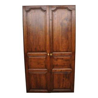 Antique French Louis XVI Style Carved Oak Interior Double Doors - Set of 2 For Sale